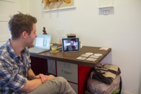 Paul talking with Jake via Skype. Photo credit: Molly Mahar
