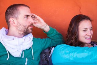 Ethan and Kiri listening. Photo credit: Lou Baldanza