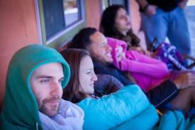 The group listening. Photo credit: Lou Baldanza